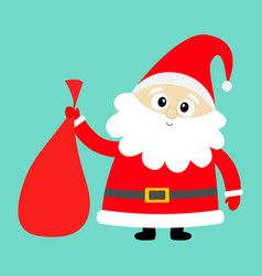 Santa claus holding carrying sack gift bag red vector
