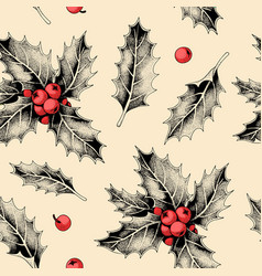 seamless pattern with holly leaves and berries vector image