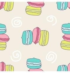 Seamless yammy macaron pattern vector
