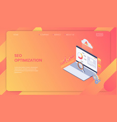 seo optimization web page template concept vector image