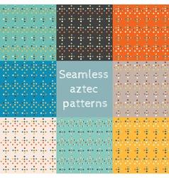 Set 8 seamless ethnic aztec patterns vector