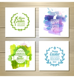 set easter watercolor decorative cards vector image