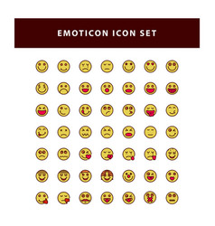 set emotion icon with filled outline style vector image