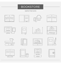 Set line icons for a bookstore vector