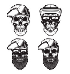 set skull in baseball cap in monochrome vector image