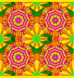 sketch of colored mehndi mandala on orange yellow vector image