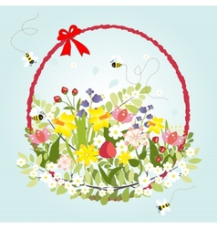Spring Floral Blossom Love Vintage Cartoon Bee vector image