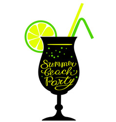 summer beach party calligraphic lettering vector image