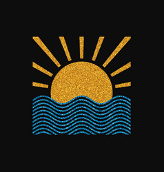 Sun and sea logo vector