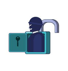 thief man in padlock security vector image