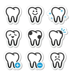 Tooth dental icons set vector image