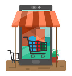 trade in things and services via phone vector image