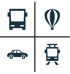 transport icons set collection of streetcar vector image