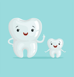 Two cute healthy white cartoon teeth characters vector