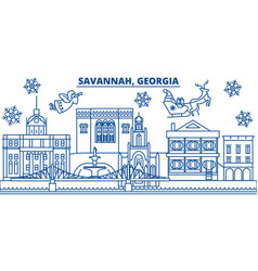Usa georgia savannah winter city skyline merry vector