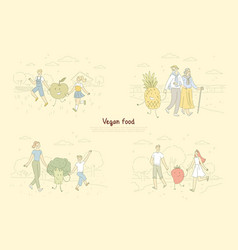 Vegan food fans people walking with fruits and vector
