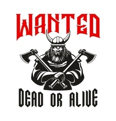 Wanted dead or alive warrior sign vector