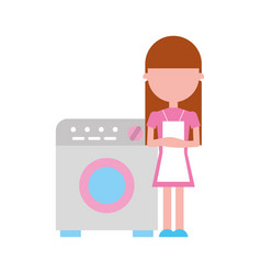 Wash machine with woman character vector
