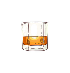 Whiskey or rum glass sketch icon vector