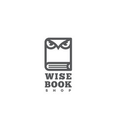 Wise book shop logo vector