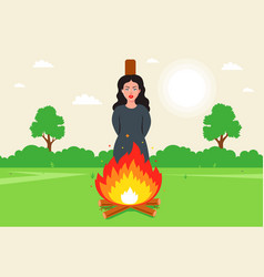 Witch burn at the stake victim of religious error vector