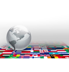 World globe on a background made of flags vector image