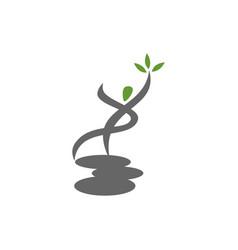 Yoga stone logo design emblem meditation isolated vector