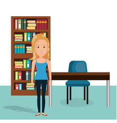 young woman in the library character scene vector image