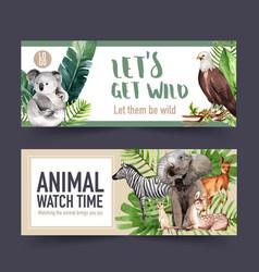 Zoo banner design with zebra koala meerkat vector