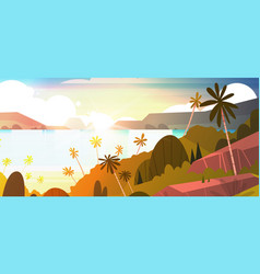 amazing sunset on seaside horizontal banner vector image