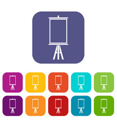 easel icons set flat vector image vector image
