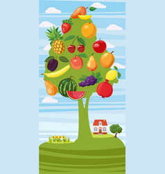 fruits tree vertical banner cartoon style vector image