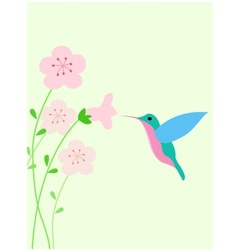 Hummingbird with red flower vector image vector image