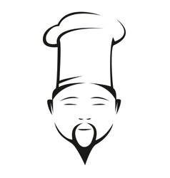 Oriental chef in a traditional white toque vector image vector image
