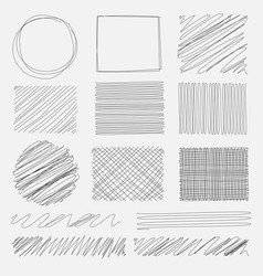 Set of line grunge brushes textures vector