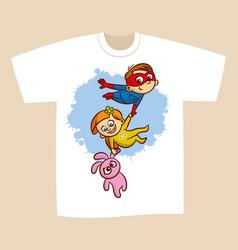 t-shirt print design superhero flying boy rescuer vector image