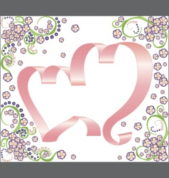 two ribbon hearts with floral background vector image vector image