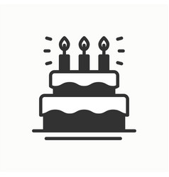 birthday cake pie with candles icon happy vector image