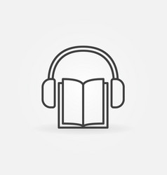 book with headphones icon vector image vector image