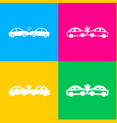 crashed cars sign four styles of icon on four vector image
