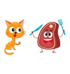 funny red cat kitten character steak holding vector image vector image