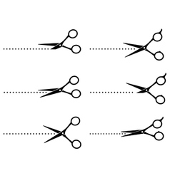 scissors cutting points line vector image