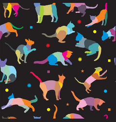 seamless pattern with cats silhouettes vector image