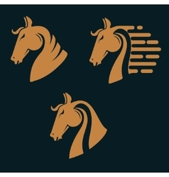 Set of horse head silhouettes vector image