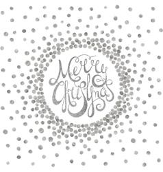 Silver calligraphic inscription merry christmas vector