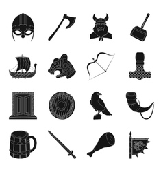 Vikings set icons in black style Big collection vector image vector image