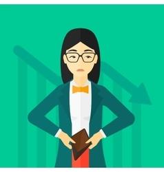 Bancrupt business woman vector image vector image