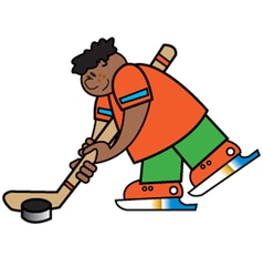 Boy playing hockey vector image