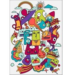 Cute crazy doodles life vector image
