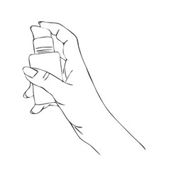 Hand with cosmetic cream dispenser vector